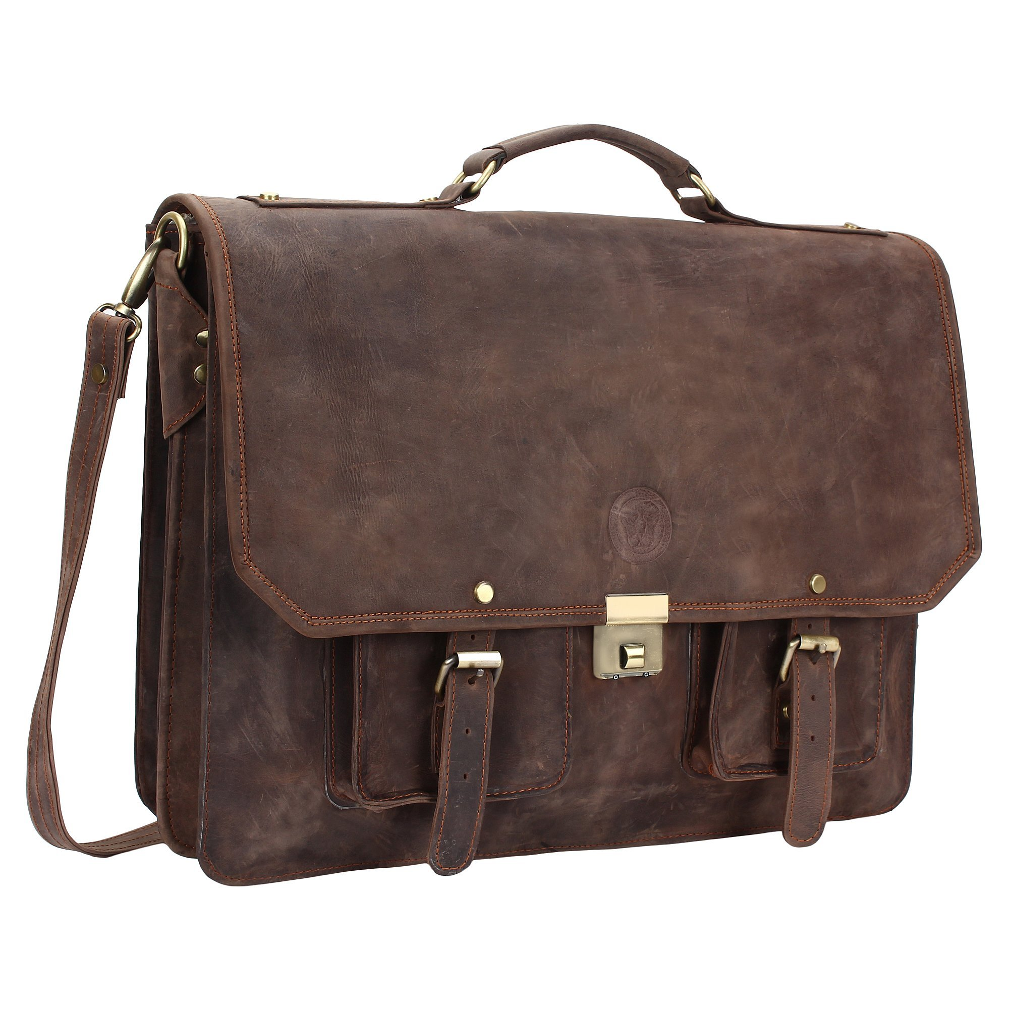 Adwaita 18'' Inch Cow Oil Buff Full Grain Leather Messenger Bag Office Briefcase College Bag Leather Bag for Men and Women (Without Stripe)