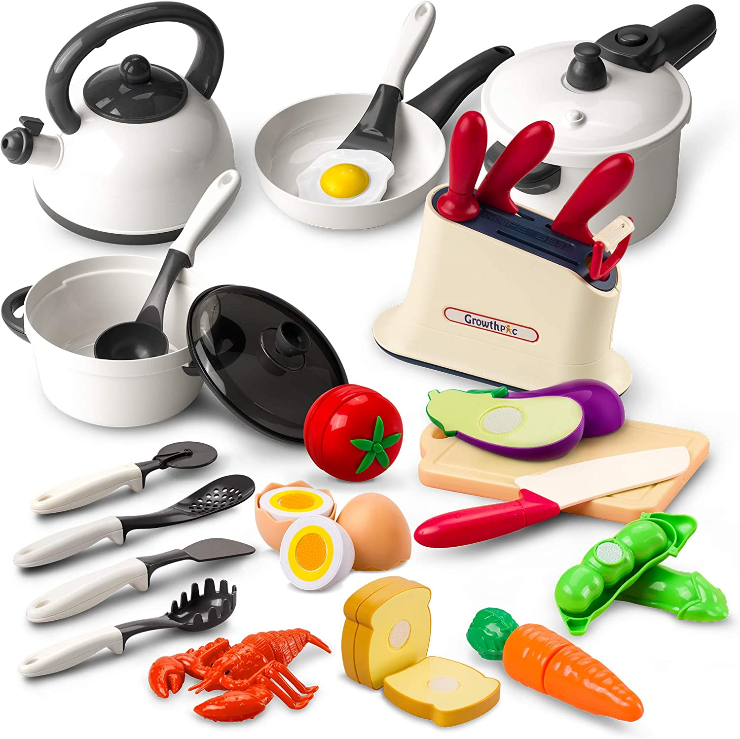 GrowthPic Kids Play Kitchen Accessories, Toy Cookware Set Pots and Pans Cooking Utensils Playset, Cutting Play Food for Toddler Kids Boys Girls