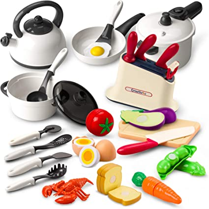 Amazon Com Growthpic Kids Play Kitchen Accessories Toy Cookware Set Pots And Pans Cooking Utensils Playset Cutting Play Food For Toddler Kids Boys Girls Toys Games