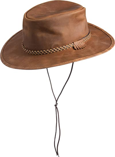 e458c42a189 Overland Sheepskin Co Rancher Crushable Oiled-Leather Cowboy Hat at Amazon  Women s Clothing store