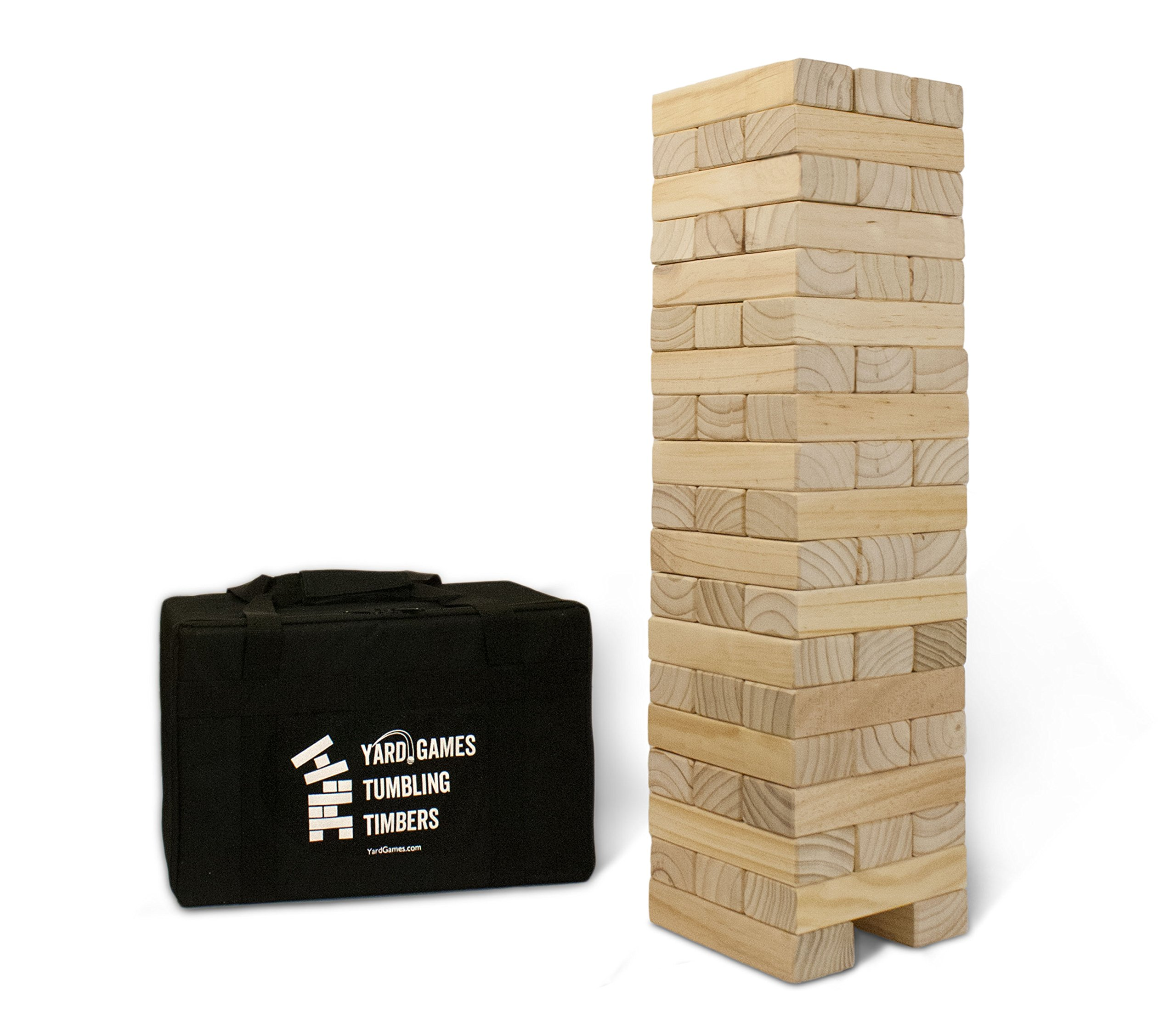 Yard Games Giant Tumbling Timbers with Carrying Case | Starts at 2.5-Feet Tall and Builds to Over 4-Feet | Made with Premium Pine Wood by Yard Games