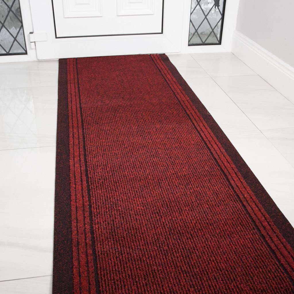 Red Rubber Backed Very Long Hallway Hall Runner Narrow Rugs Custom Length - Sold and Priced Per Foot by The Rug House