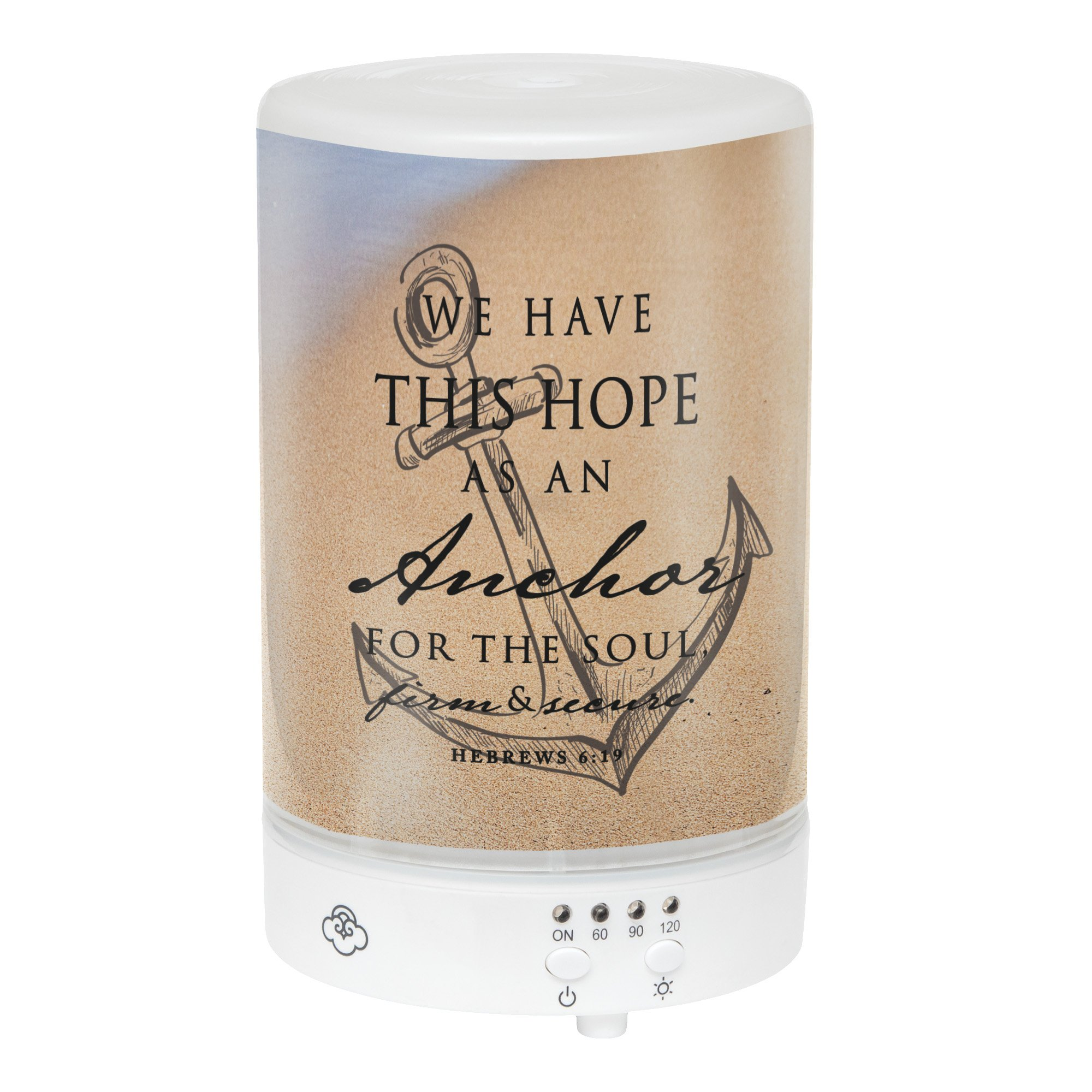 Elanze Designs Hope As Anchor for Soul Firm Secure Frosted Glass 8 Color LED Light Essential Oil Diffuser by Elanze Designs