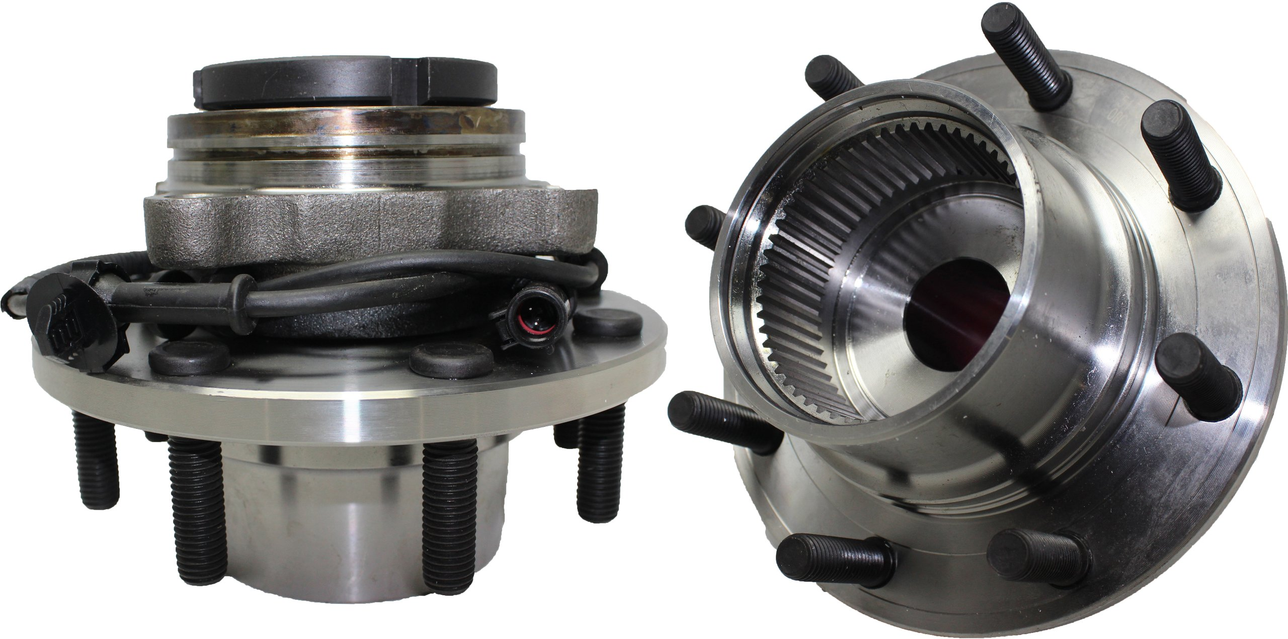 2 New Front Ford Super Duty F-350 , F-250, Excursion ABS 4x4 ABS Wheel Hub and Bearing Assembly 8 lugs, SRW COARSE THREADS, FROM 3/22/99, (PAIR) by Detroit Axle