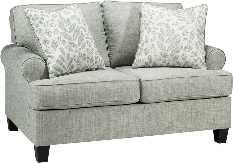 Signature Design by Ashley - Kilarney Linen Loveseat w/ 2 Pillows, Mist Green