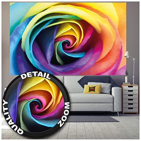 Great Art Poster Rainbow Rose Multicolored Wallpaper Floral Mural Natural Colorful Design Posters Roses Decoration Colors Decor 55 X 39 4 Inch