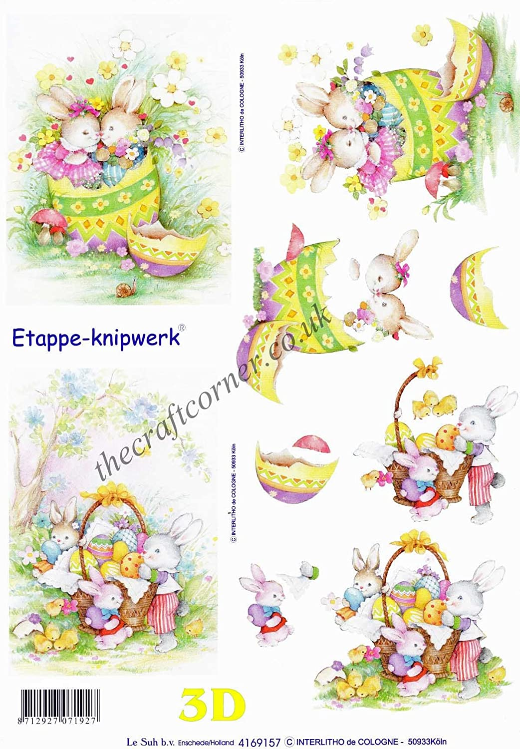 Easter Bunny 3D Decoupage Sheet Card Making Craft *CUTTING REQUIRED*