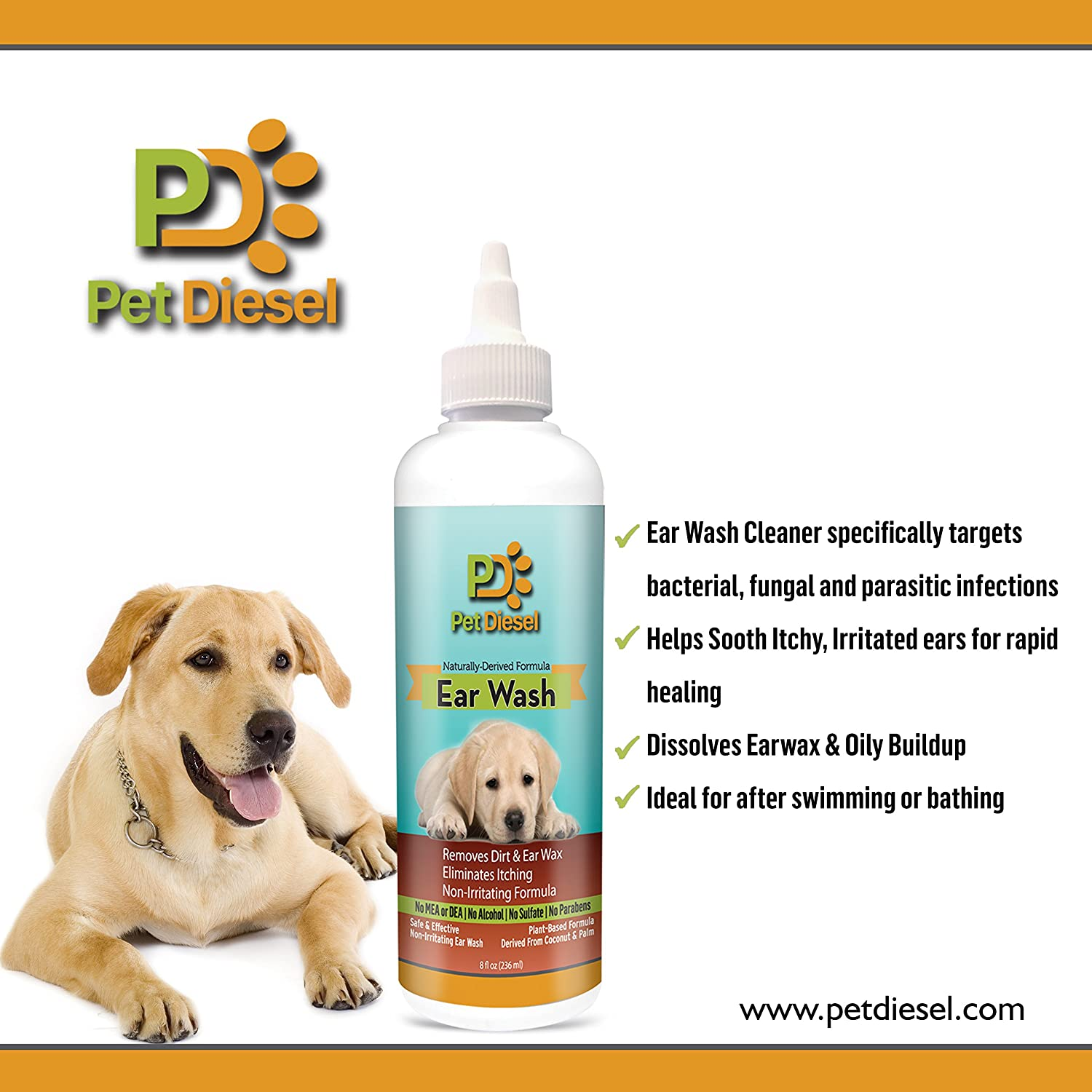 Amazon EcoEars Dog Ear Cleanser Ideal For Ear Wax Removal