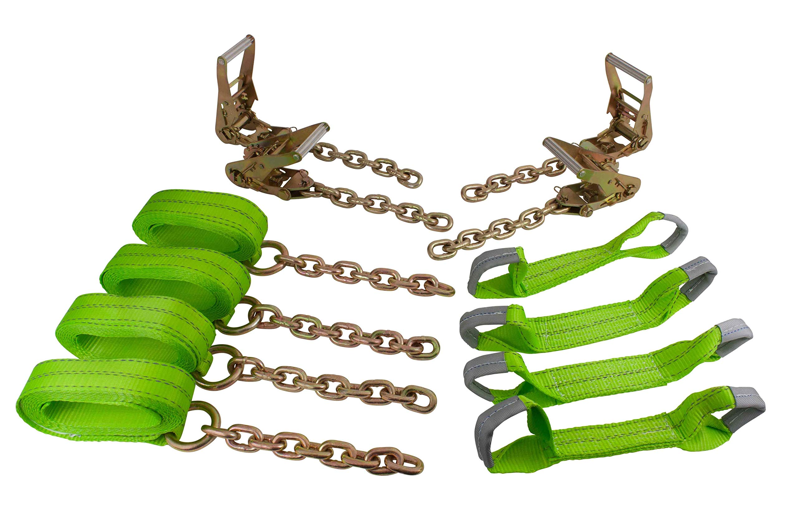 Mytee Products Hi VIZ Green Roll Back Tie Down System Chain Ends 8 Point for Car Hauler Carrier Tow Truck