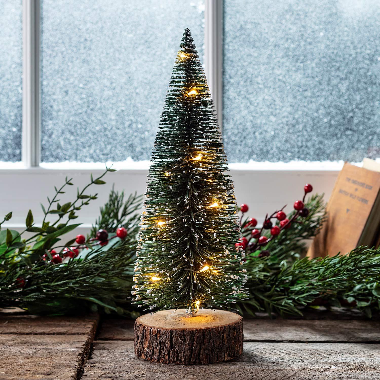 Lights4fun, Inc. 12'' Pre Lit Battery Operated LED Mini Christmas Tree Decoration