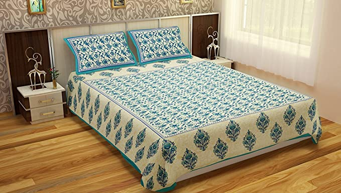 Vihaan Fab India Cotton Double Bedsheet with 2 Pillow Cover -Full Size, Multicolour