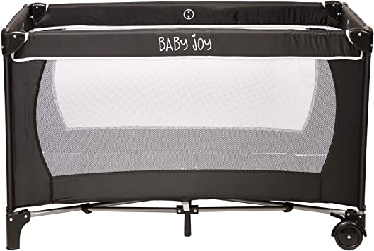 Grey Folding Base Mosquito Net 125cm Including: Folding Mattress Baby Joy Large Portable Folding Child Baby Travel Cot Crib Bed Playpen for Children Carry Bag