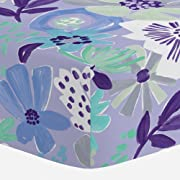Carousel Designs Lilac Modern Floral Crib Sheet - Organic 100% Cotton Fitted Crib Sheet - Made in The USA