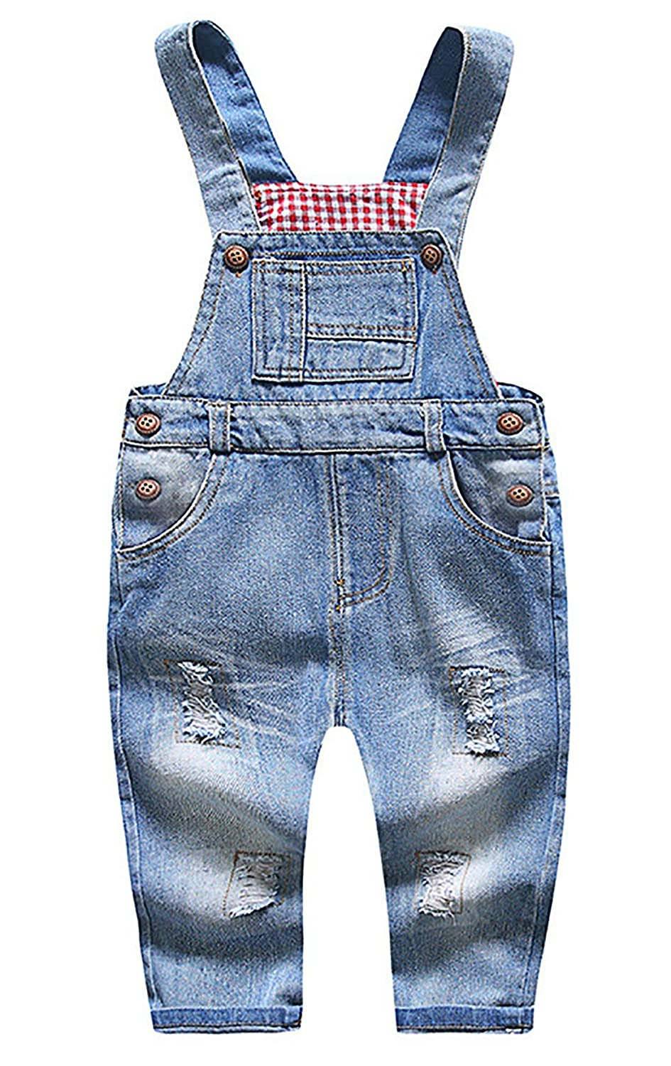 FEOYA Little Boys Girls Dungarees Denim Jeans Bib Overalls Jumpsuits for Babys