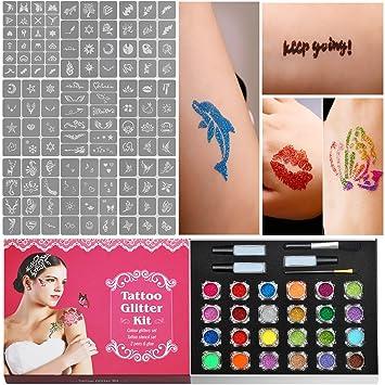 11b31381c Herenear Kit de Tatuaje Temporal de Brillantina, Cara Cuerpo Pintura con 24  Brillantinas Grandes y 120 Plantillas, Maquillaje Adultos Infantiles para  ...