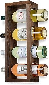 Rustic State Sonoma Wood Wine Rack Wall Mounted Bottle Holder, Holds 4 Bottles