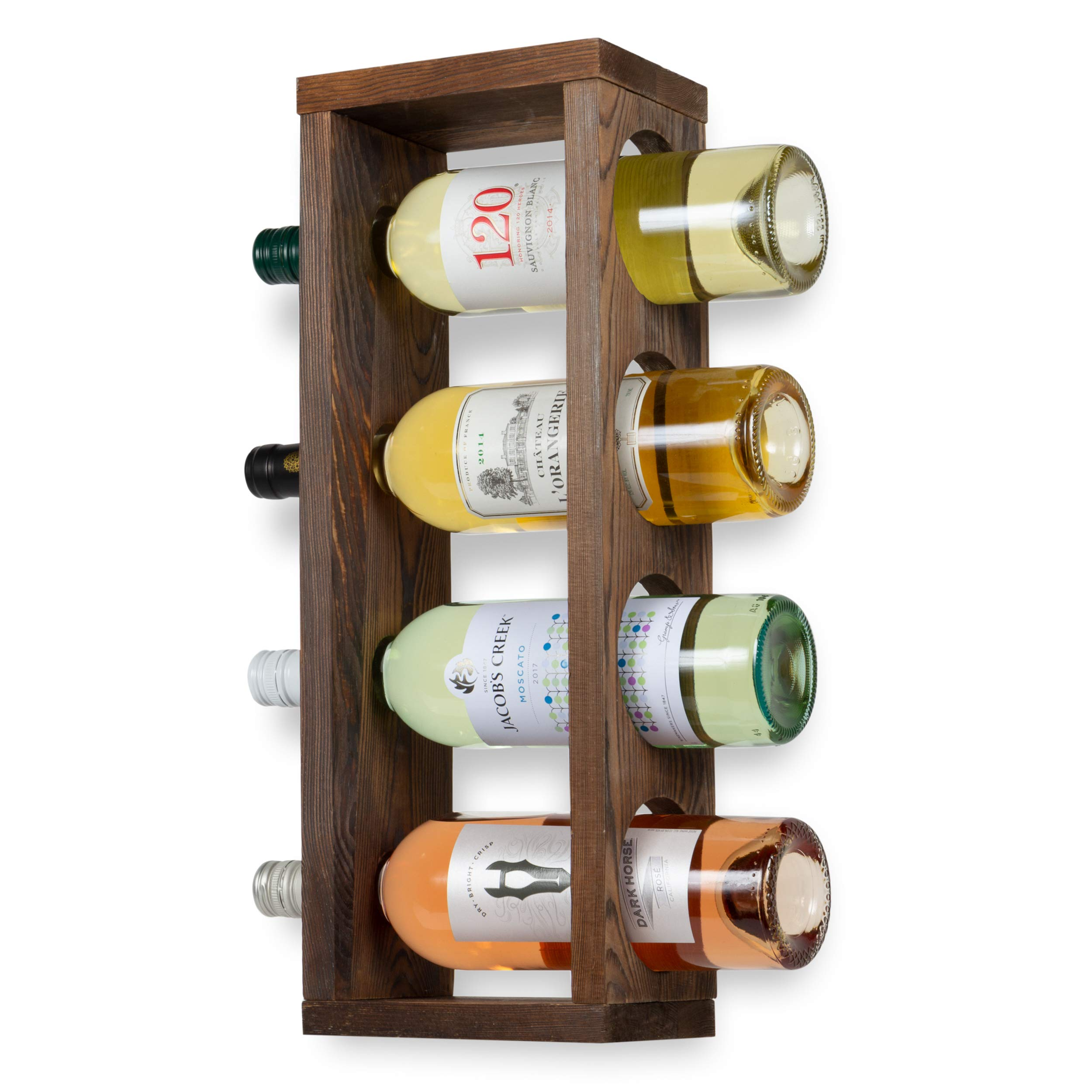 Rustic State Sonoma Wood Wine Rack Wall Mounted Bottle Holder, Holds 4 Bottles by Rustic State