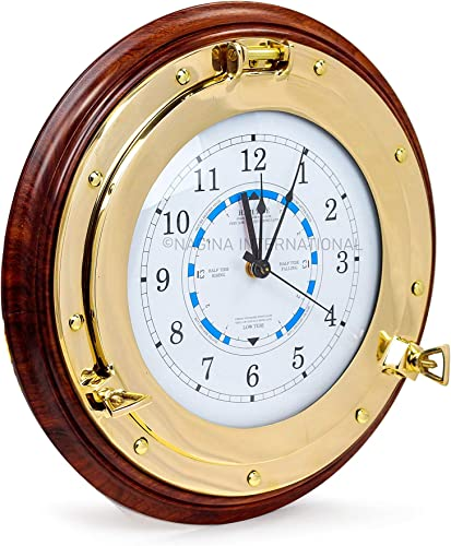 Nagina International Nautical Time Tide Clock On Premium Wooden Base – Polished Brass Porthole Wall Hanging Decor 18 Inches