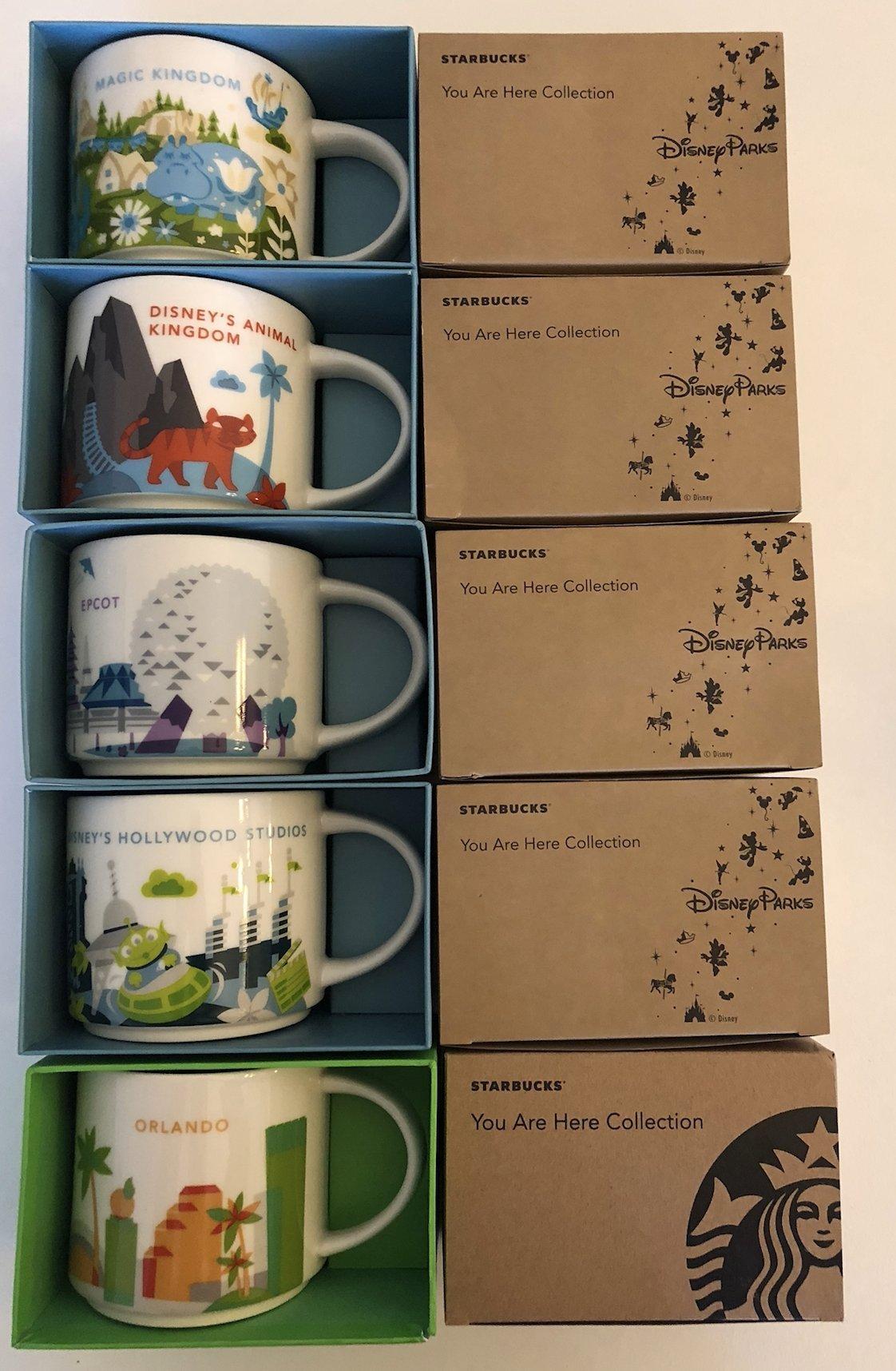 5 Mug Set: Animal/Magic Kingdom, EPCOT 2, Disney Hollywood Studios, Orlando YAH 14 Oz. Mugs W/ Bonus Blank Starbucks Gift Card