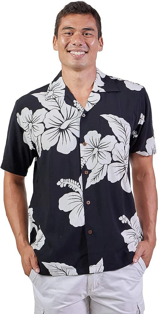 Hajotrawa Mens Summer Short-Sleeve Hawaiian Button Up Tropical Aloha Shirts