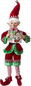 """RAZ Imports Posable Christmas Elf, 16"""" Tall, Red and Green Velvet Outfit with Santa Book, 2019 Reindeer Games Holiday Collection"""
