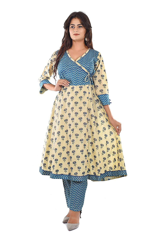 Best Cotton Beige & Blue Floral & Leheriya Print Angrakha Kurta Pant Set Collection