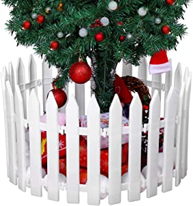 URATOT 15 Pieces Thick White Plastic Picket Fence Christmas Tree Fences Mini Fence Decoration for Christmas Wedding Party Garden Home, 12 Inches