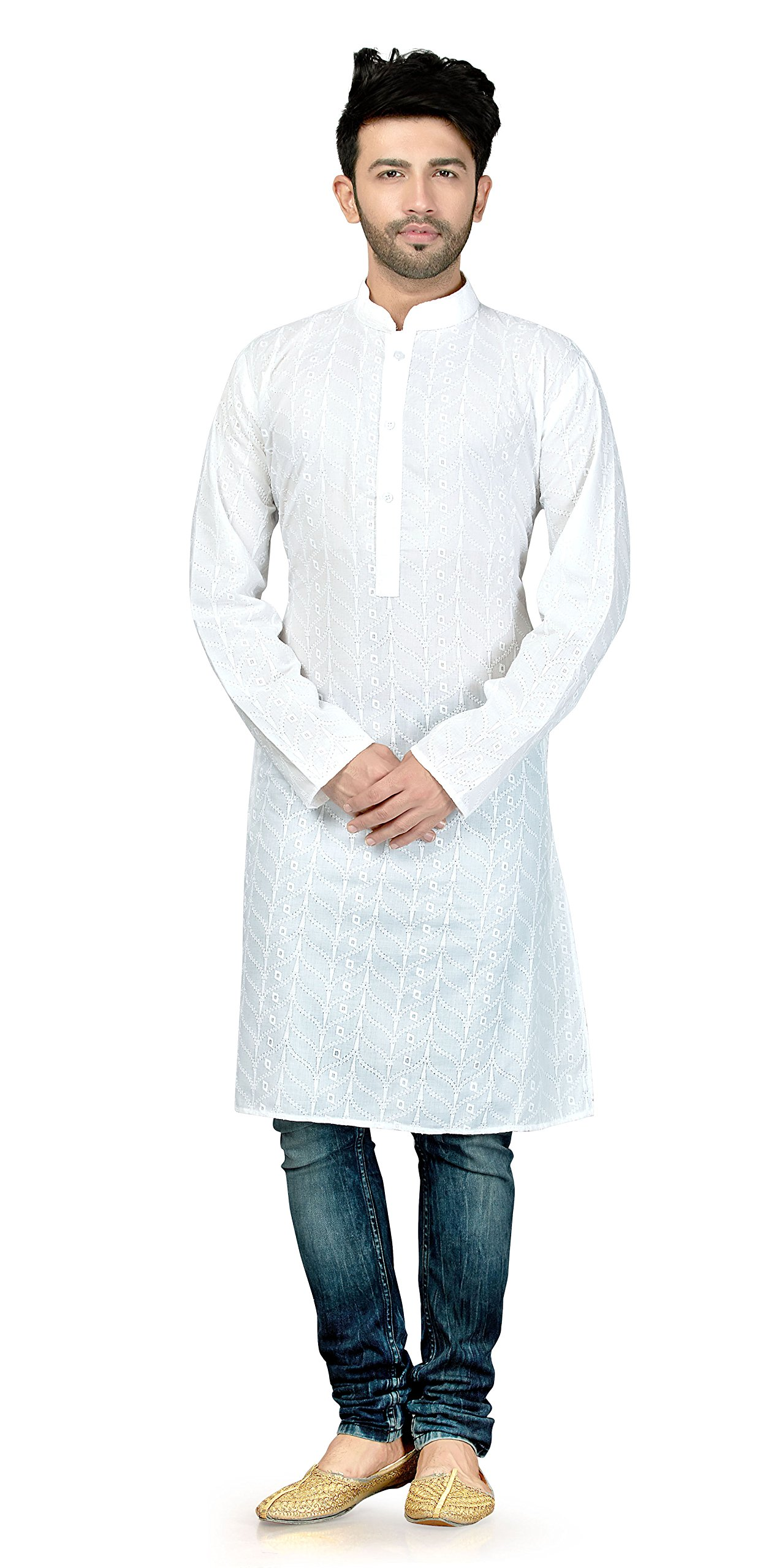 TrendyFashionMall Mens Traditional Embroidery Work Long Kurta White-03 XL-44