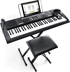 Alesis Melody 61 MKII | 61 Key Portable Keyboard with Built In Speakers, Headphones, Microphone, Piano Stand, Music Rest and Stool (Renewed)