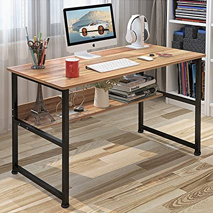 Jerry & Maggie - Wood & Steel Table Simple Plain Lap Desk Computer Desk  Table Personal Working Space Lapdesk with 4 Steel Legs Stand Desk for ...