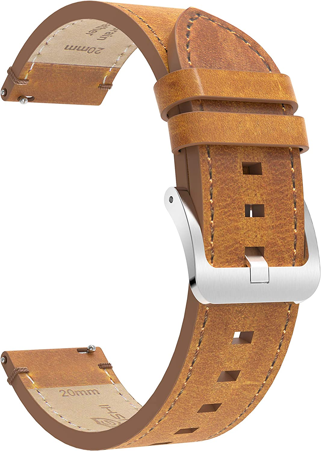 BaiHui Quick Release Leather Watch Band - Top Leather Watch Band Compatible for Samsung Galaxy Watch,Choice of Width 20mm, 22mm Watch Strap for Men and Women - Brown 81EKlmof6PL