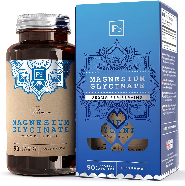 FS Glicinato de Magnesio 250 mg - 90 Cápsulas vegetarianas de Magnesio Glicinato | Apoya la Función Cardiovascular y Neurológica | Para el Estado de ...