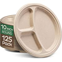 """Stack Man Plates [10 inch - 125-Pack] 3 Compartment Disposable Plates, 10"""" Biodegradable Plates"""