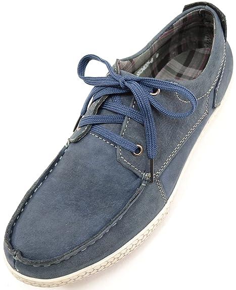 Scarpe da uomo scamosciate, con lacci, estive, da barca , Blu (Navy), 45.5