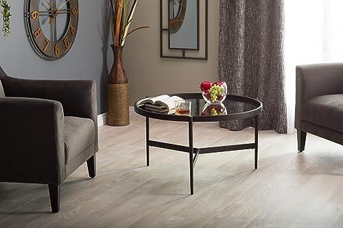 Studio Designs Home Black/Antiqued Mirror Estrade 36″ Modern Round Coffee Table