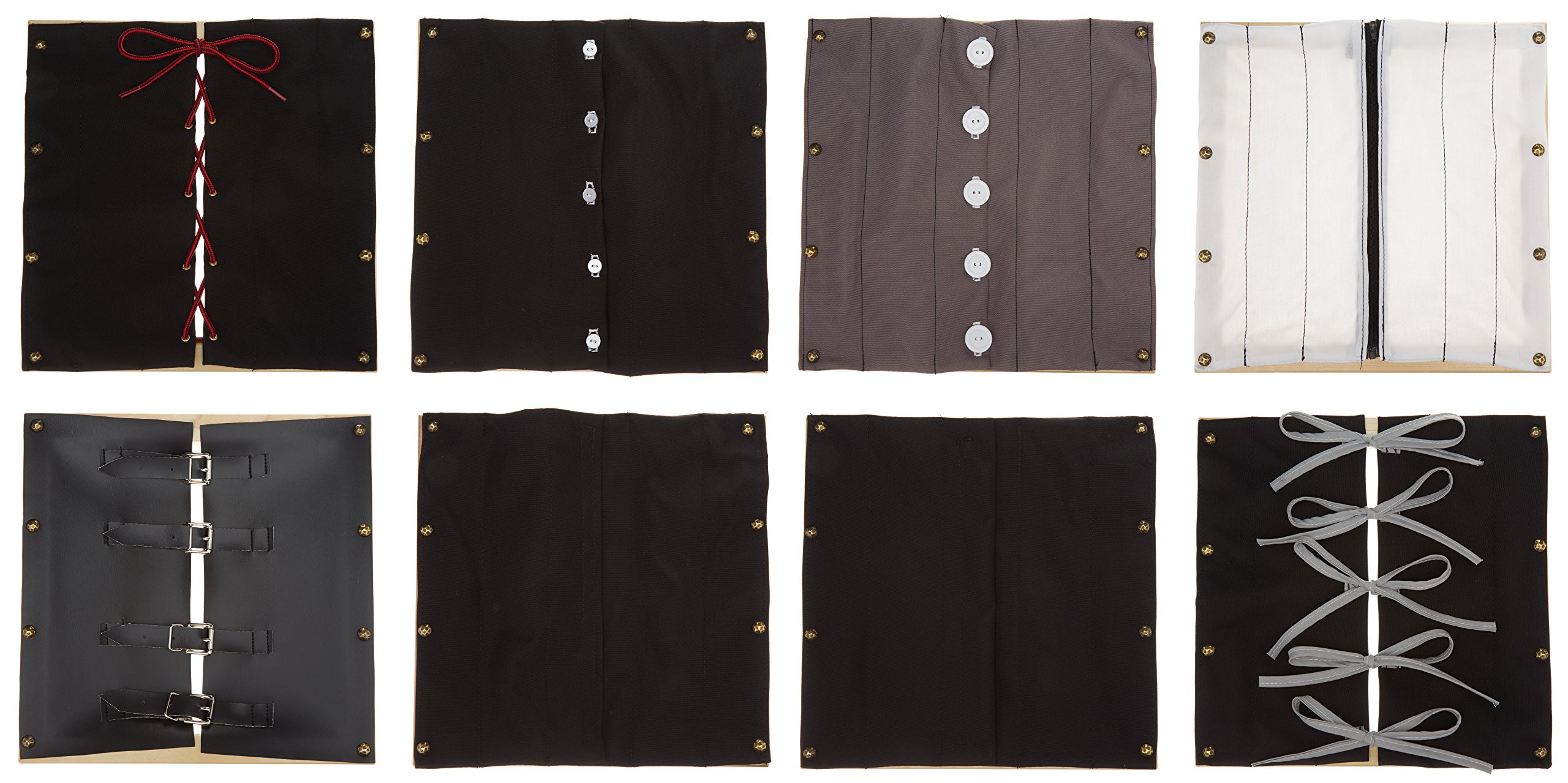 Sammons Preston Dressing Frame Sets, Parts 1 & 2, Eight 12'' Cloth Squares Seated on Wood Frames, Motor Skill Training Aid