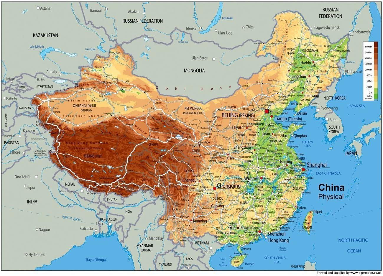 La Cina Cartina Politica.Cina Mappa Fisica Carta Plastificata A1 Misura 59 4 X 84 1 Cm Amazon It Cancelleria E Prodotti Per Ufficio