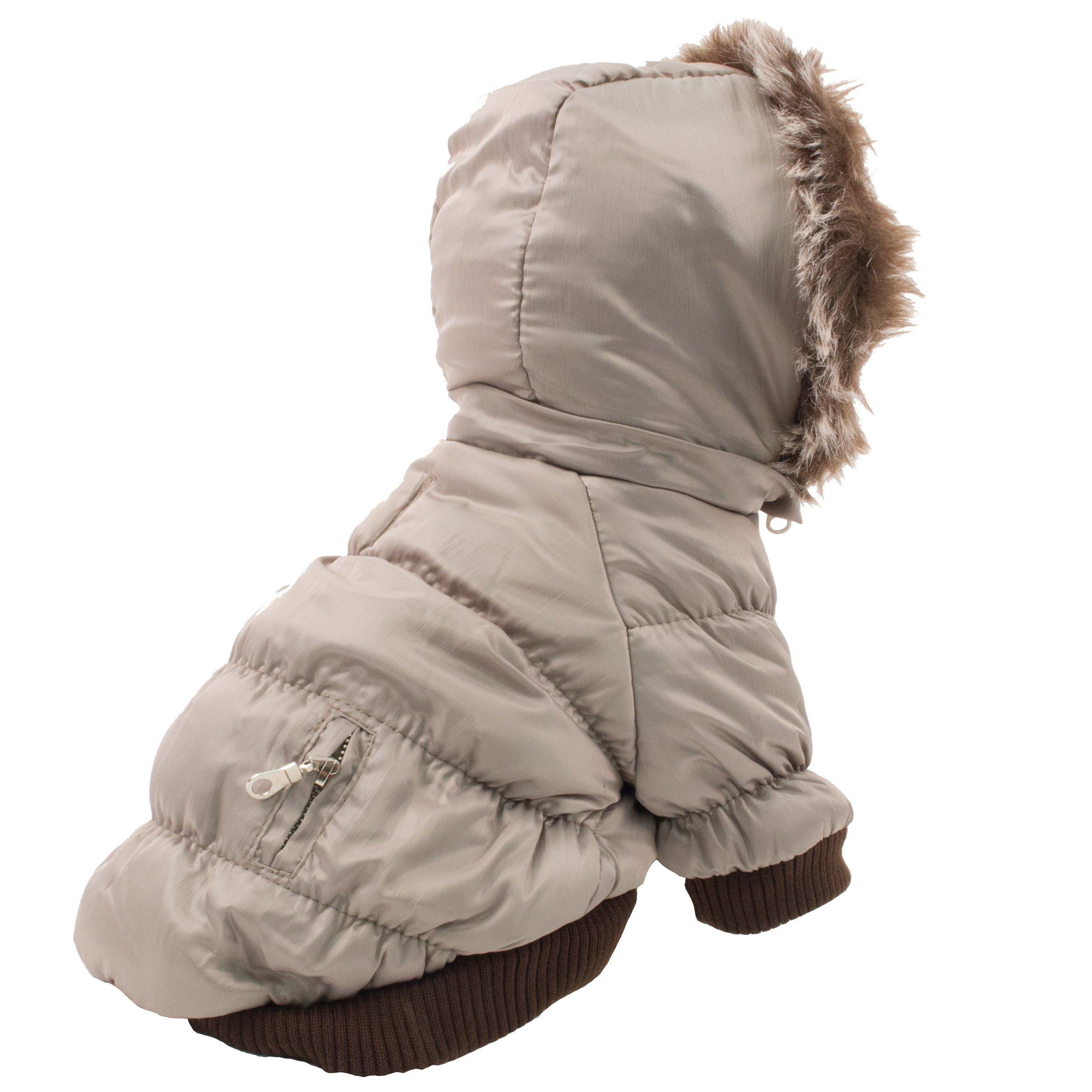Pet Life Classic Metallic Fashion Pet Dog Coat Jacket Parka w/3M Insulation and Removable Hood, X-Large, Metallic Grey