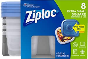Ziploc Container Extra Small Square Container, 8 CT (Pack - 6)