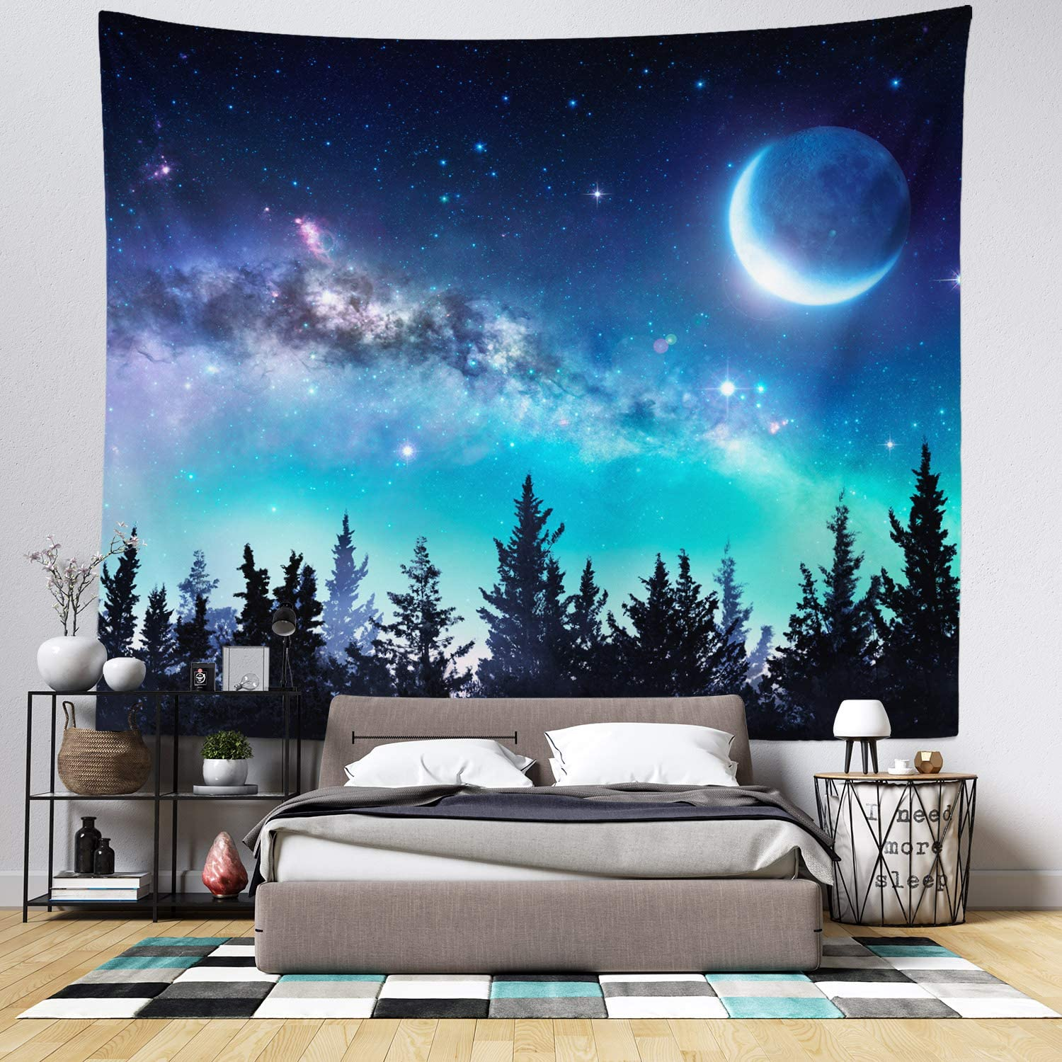 Wall Hanging Tapestry - Living Room Decor - Home Decor - Home Wall Art - Large Tapestries for Bedroom, College & Dorm (Moon and Night Sky Tapestry)