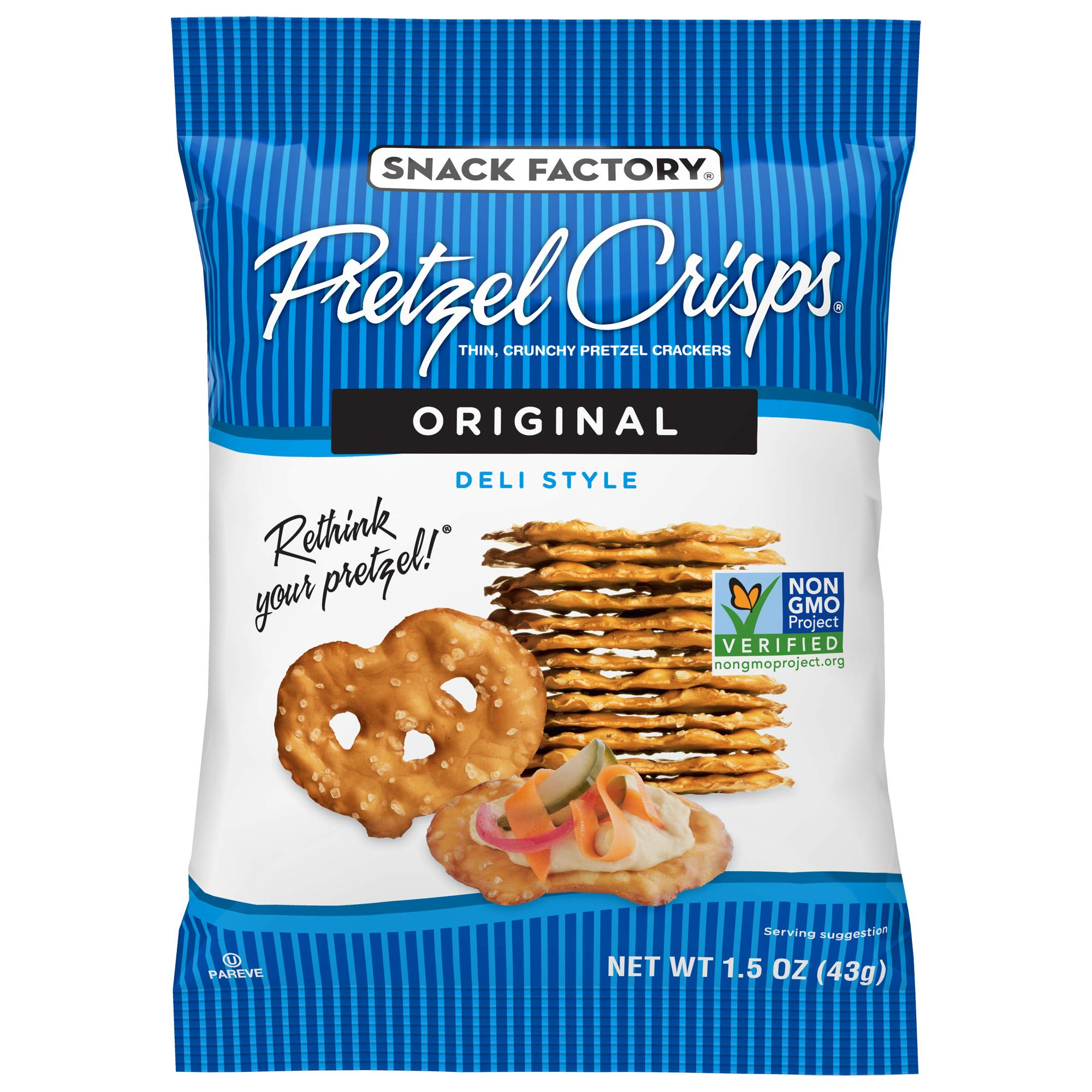 Snack Factory Pretzel Crisps, Original, Single-Serve 1.5 Ounce (Pack of 24) by Snack Factory