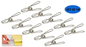 Home-X Stainless Steel Clothespins, Heavy-Duty Clothes Hangers, Set of 10