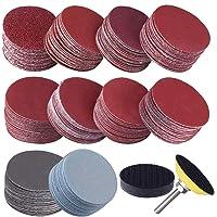 Jcevium 200 stuks 50 mm 2 inch slijpschijven slijpschijven 80-3000 grit papier met 1 inch schuurpolijstpad plaat + 1/4…