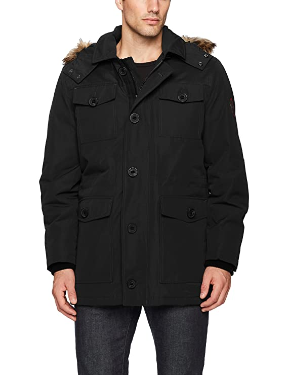 HFX Mens Four Pocket Field Jacket with Removable Faux Fur Hood at Amazon Mens Clothing store: