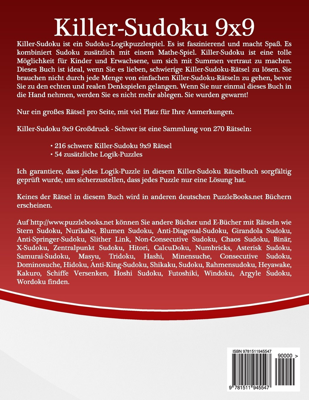 Killer-Sudoku 9x9 Großdruck - Schwer - Band 27 - 270 Rätsel (Volume ...