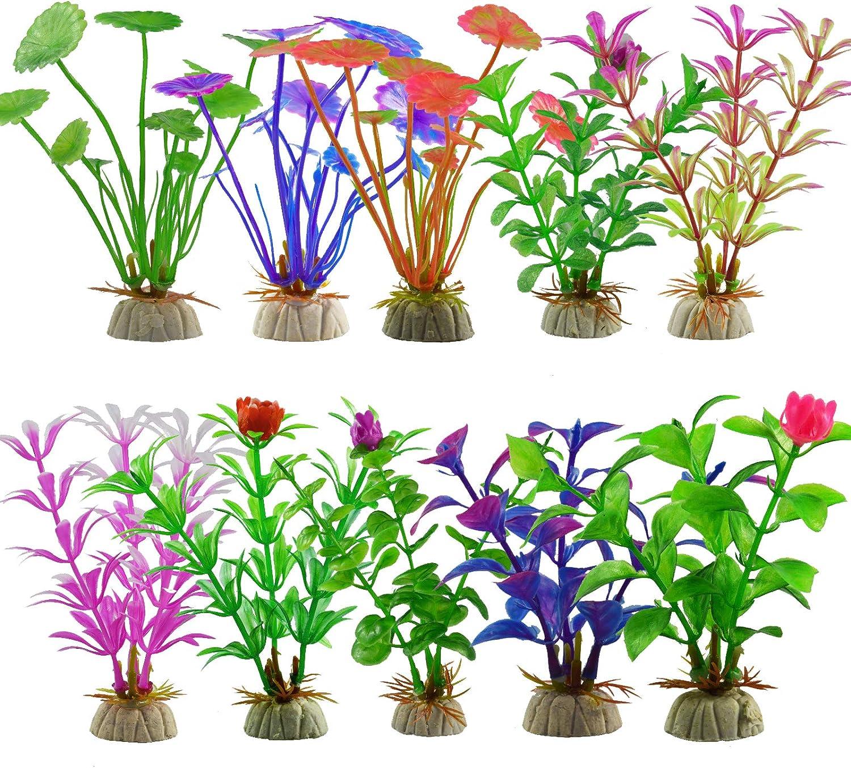YMWALK Decoraciones para Plantas de pecera, Plantas de Acuario Plantas Artificiales de plástico Adorno para peceras Decoración de Acuario (10 Piezas de diseño Diferente)