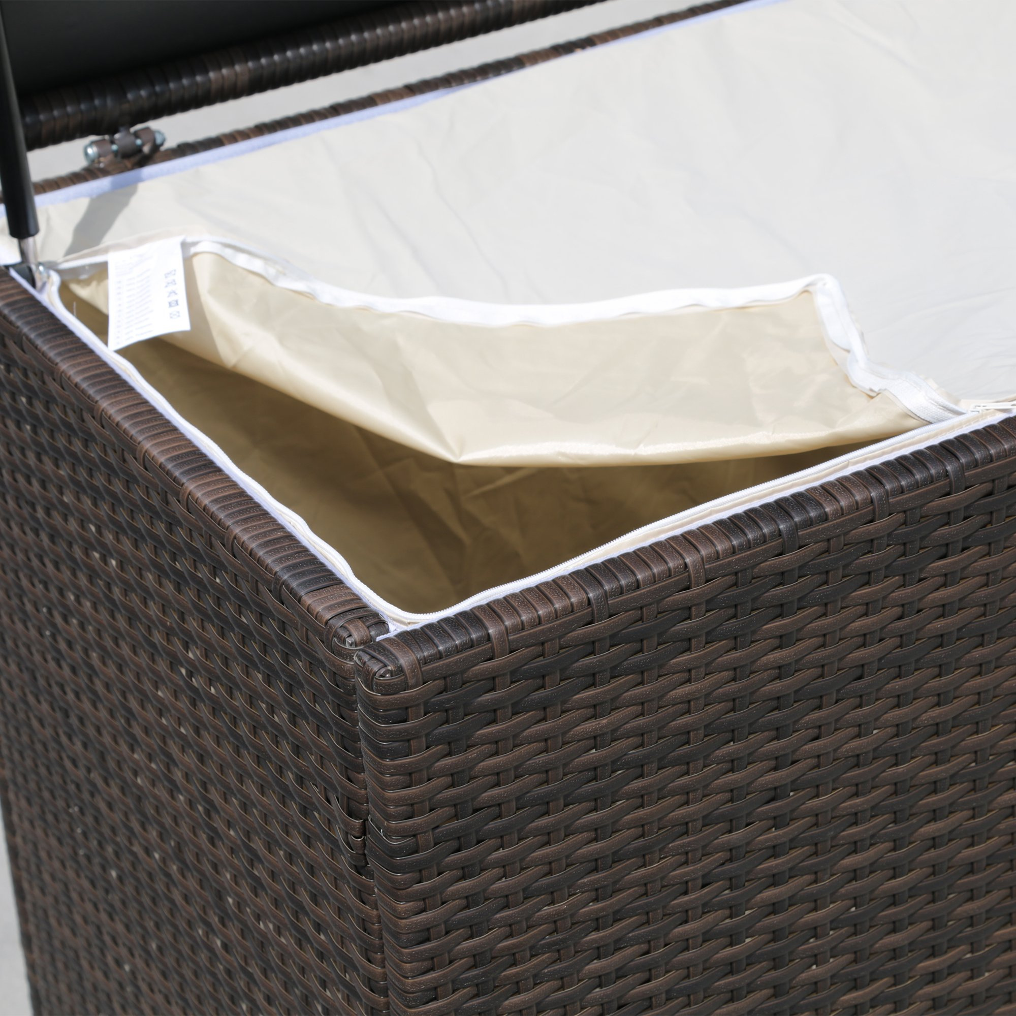 PATIOROMA Outdoor Patio Aluminum Frame Wicker Cushion Storage Bin Deck Box, Espresso Brown by PATIOROMA (Image #3)