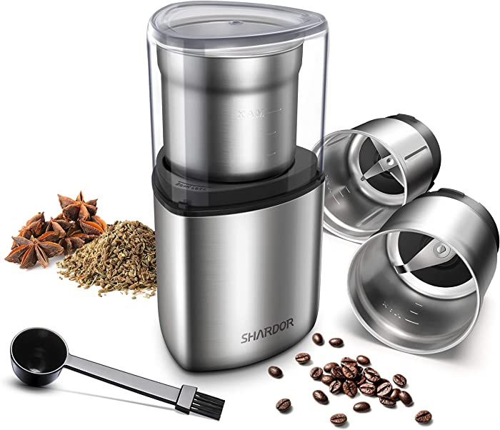 SHARDOR Electric Coffee Grinder, Spice Grinder, 2 Removable Bowls with Stainless Steel Blades, Silver