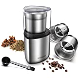 SHARDOR Coffee Grinder Electric, Spice Grinder Electric, Wet Grinder for Spices and Seeds with 2 Removable Stainless Steel Bo