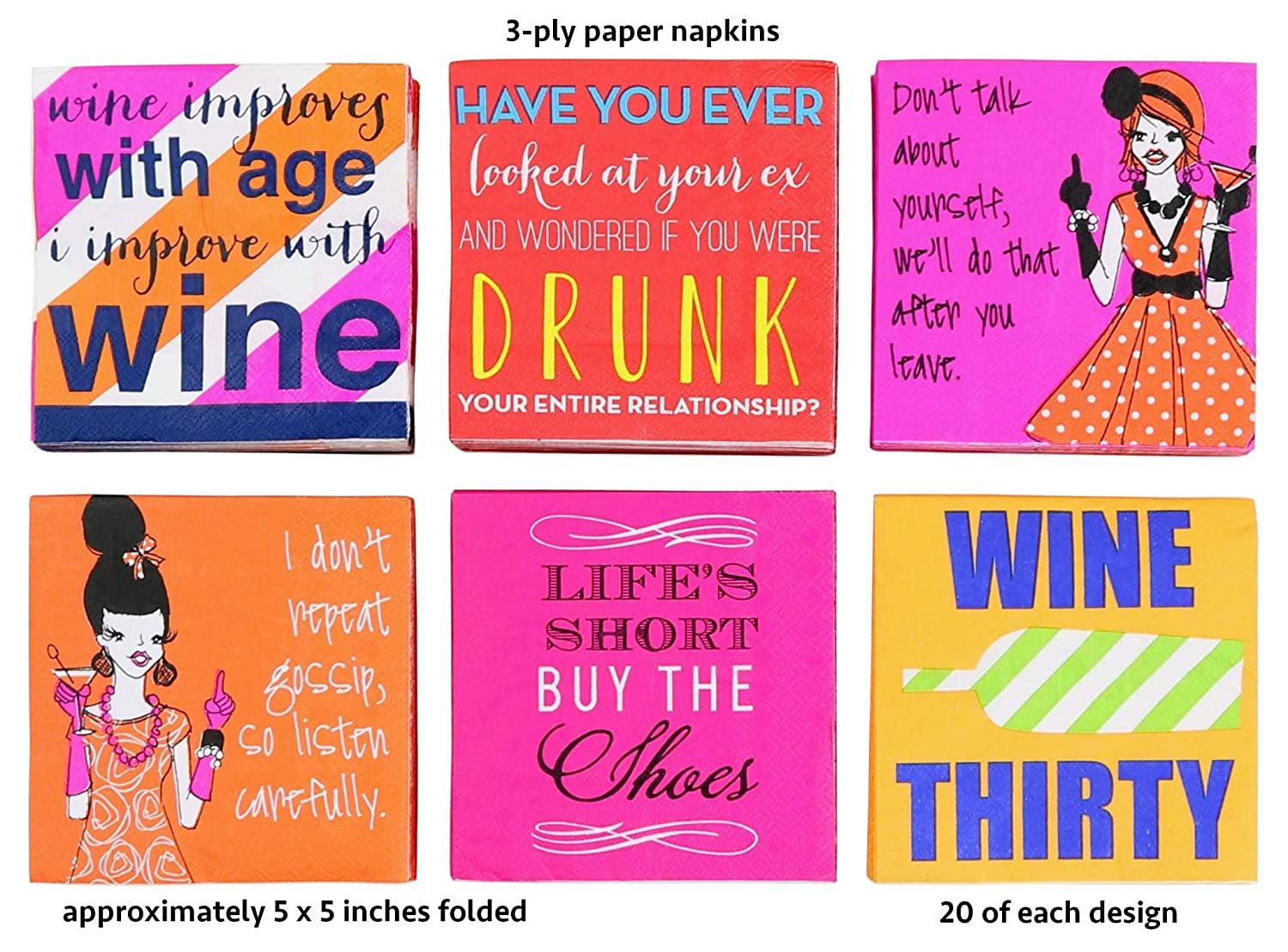 120 Count Paper Cocktail Drink Napkins with Wine Sayings Flair